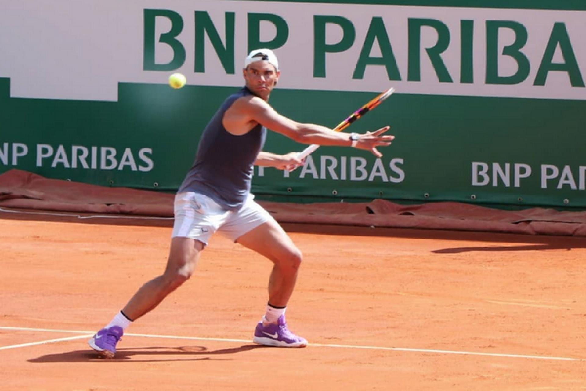Nadal berlatih di Monte Carlo pada 10 April.  Ia tersingkir di babak semifinal tahun 2019, tahun terakhir turnamen digelar.  Foto: ATP.