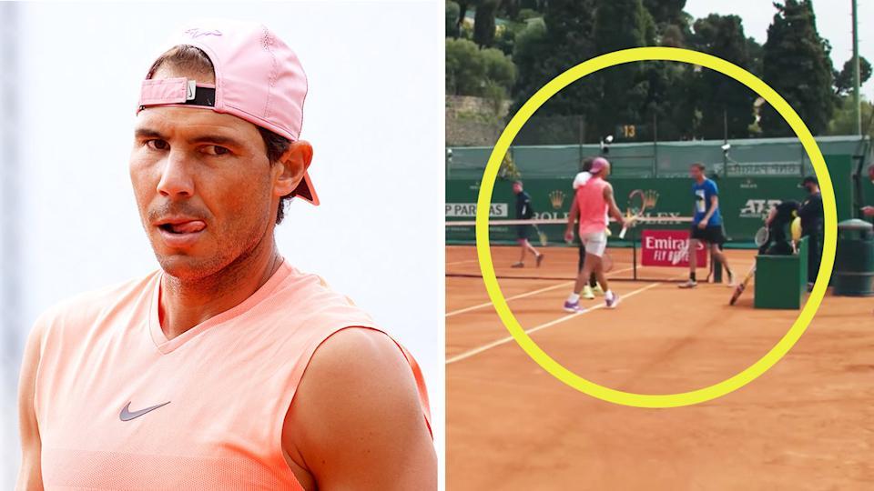 Nadal dan Medvedev hampir tidak berbicara dalam sesi latihan pada 12 April.  Foto: Tennis365.