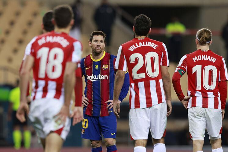 Messi từng cùng Barca thua Bilbao 2-3 ở chung kết Siêu Cup Tây Ban Nha hồi tháng 1/2021. Ảnh: AFP
