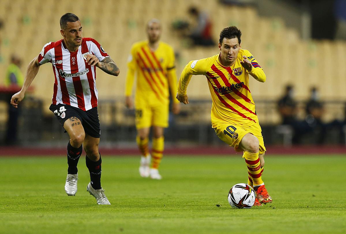 Messi dan rekan satu timnya benar-benar kewalahan, tetapi tidak bisa segera mencetak gol melawan Bilbao.  Foto: Reuters.