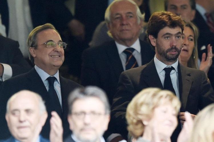 Ông chủ Real - Florentio Perez (trái) và Chủ tịch Juventus Andrea Agnelli là hai lãnh đạo của Super League. Ảnh: Goal.