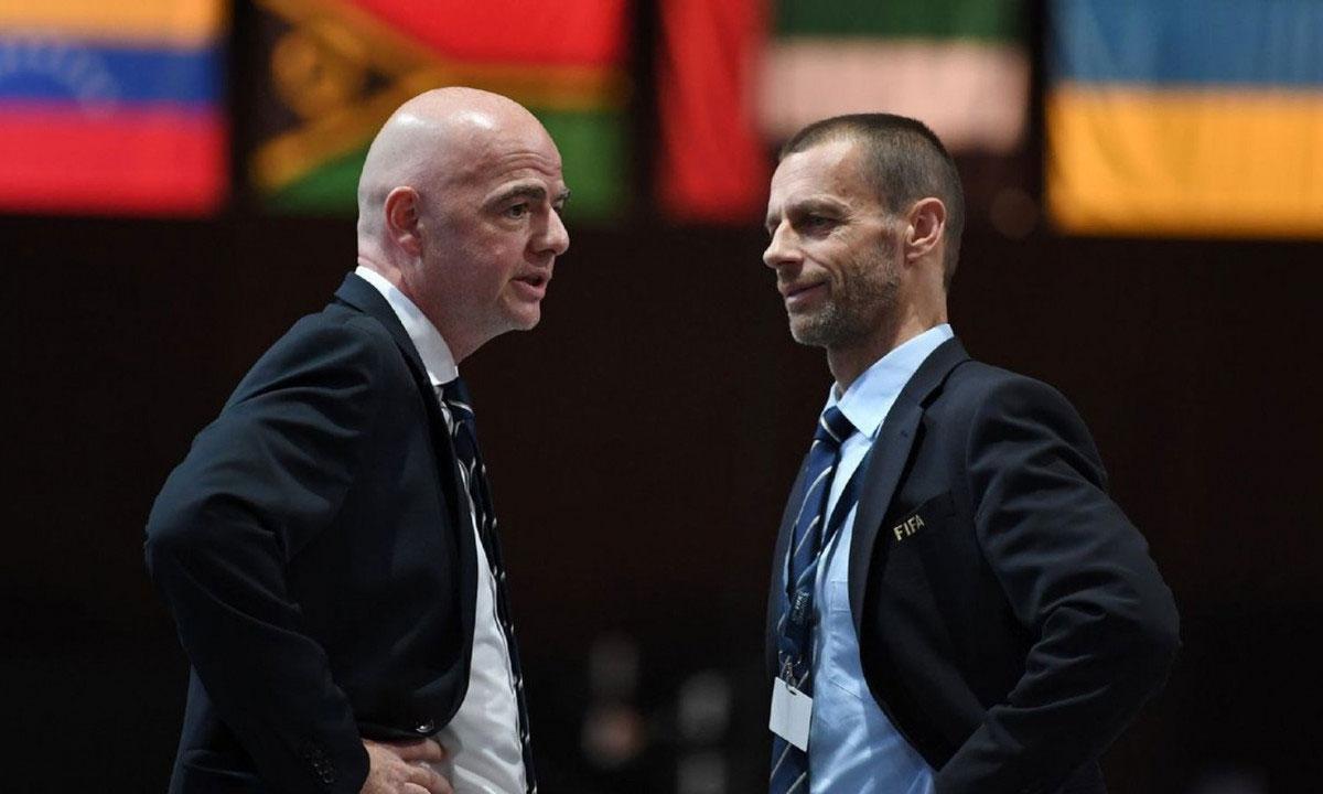 Chủ tịch FIFA Gianni Infantino và chủ tịch UEFA Aleksander Ceferin được cho là đã nhận thư cảnh báo trực tiếp từ đại diện Super League. Ảnh: AP.