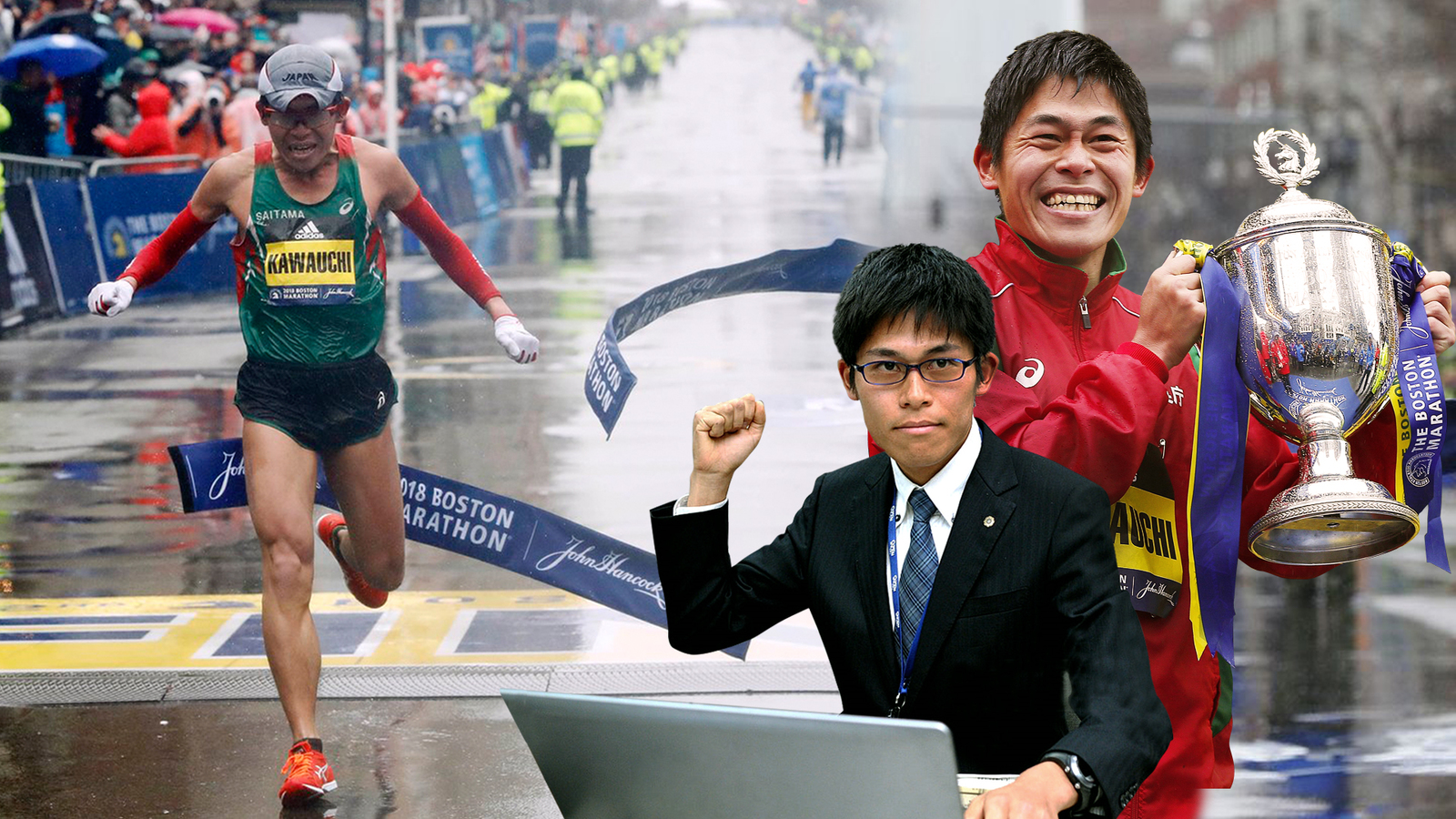 Yuki Kawauchi before returning home to Boston 2018 in the rain and wind was an office worker.
