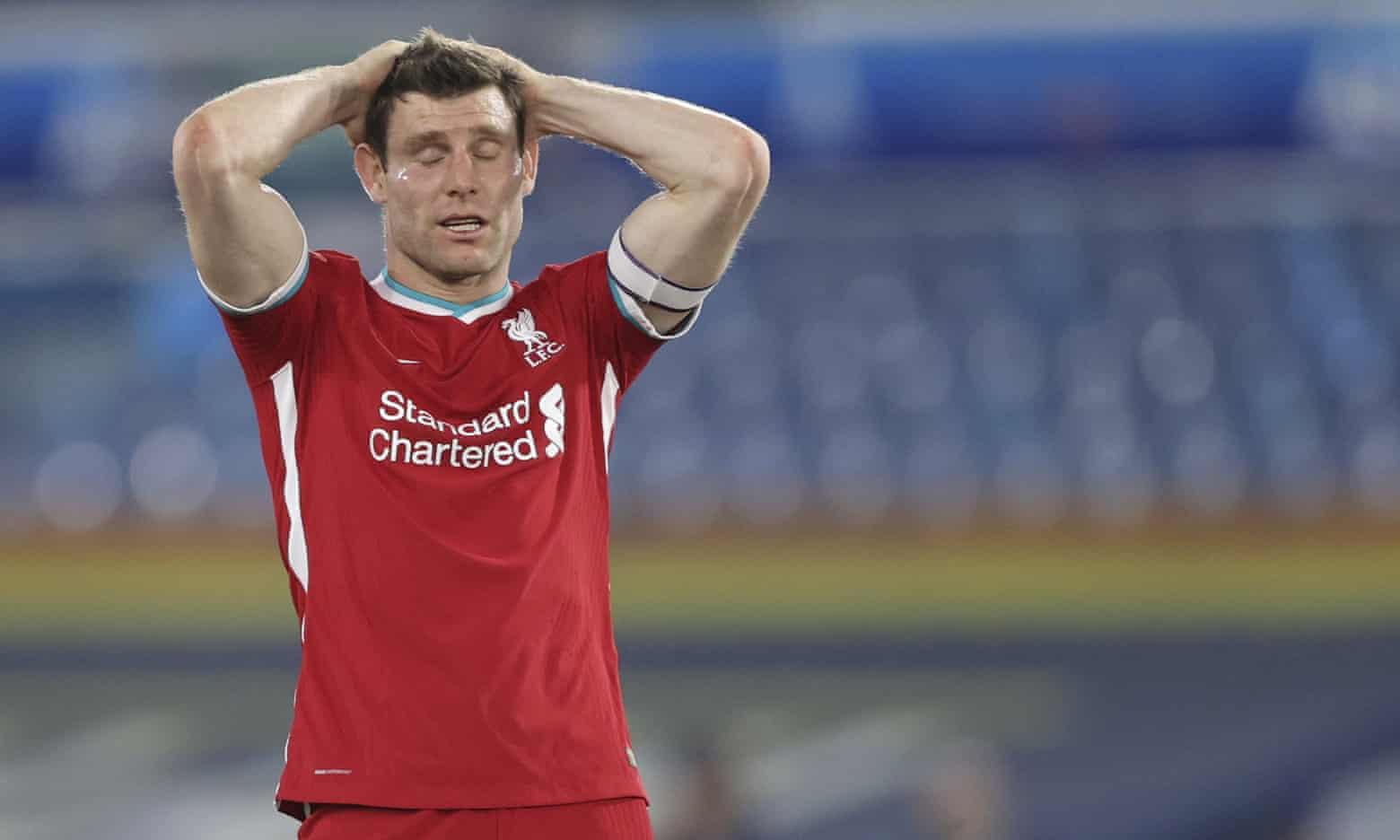 Milner tiếc nuối ở phút 51, sau khi quả tạt của anh bị Sadio Mane bỏ lỡ. Ảnh: AP