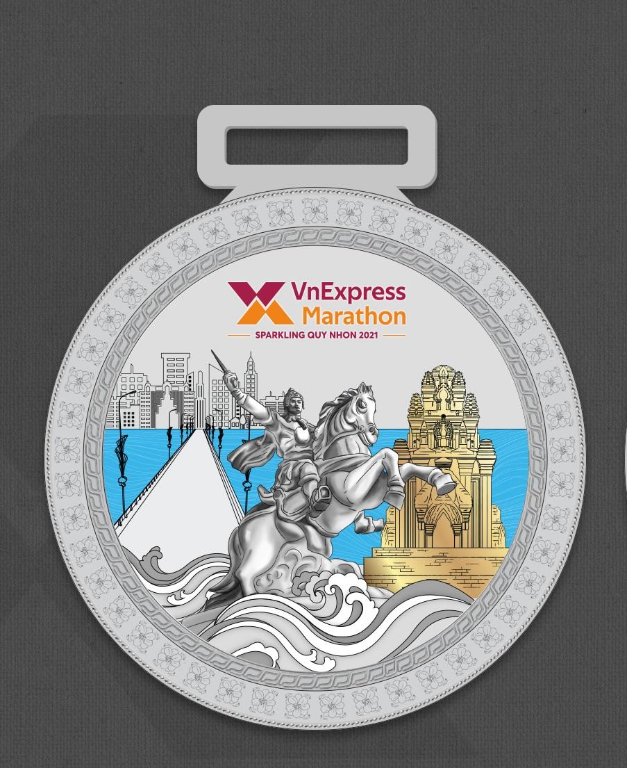 Tampilan jarak dekat dari bagian depan medali.