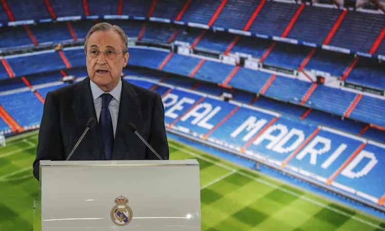 Chủ tịch Real Florentino Perez đang chịu áp lực sau khi sáu đội bóng Anh xin rút khỏi ESL. Ảnh: AP.