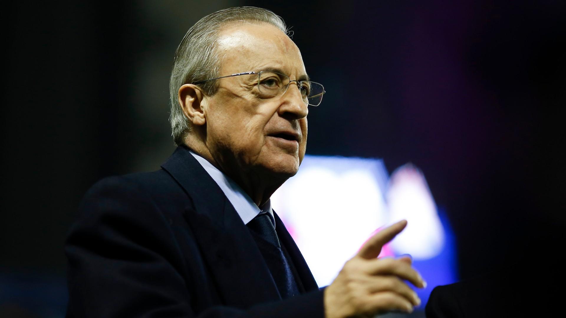 Perez menambahkan bahan bakar ke api dengan pengumuman bahwa Liga Super lahir untuk menyelamatkan sepak bola.  Foto: AFP