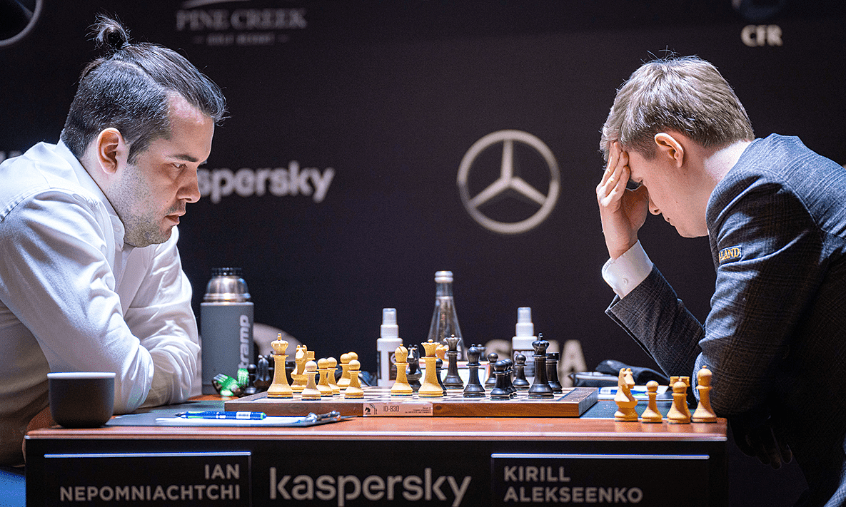 The Nepomniachtchi (left) was often faster than the opponent.  Photo: FIDE