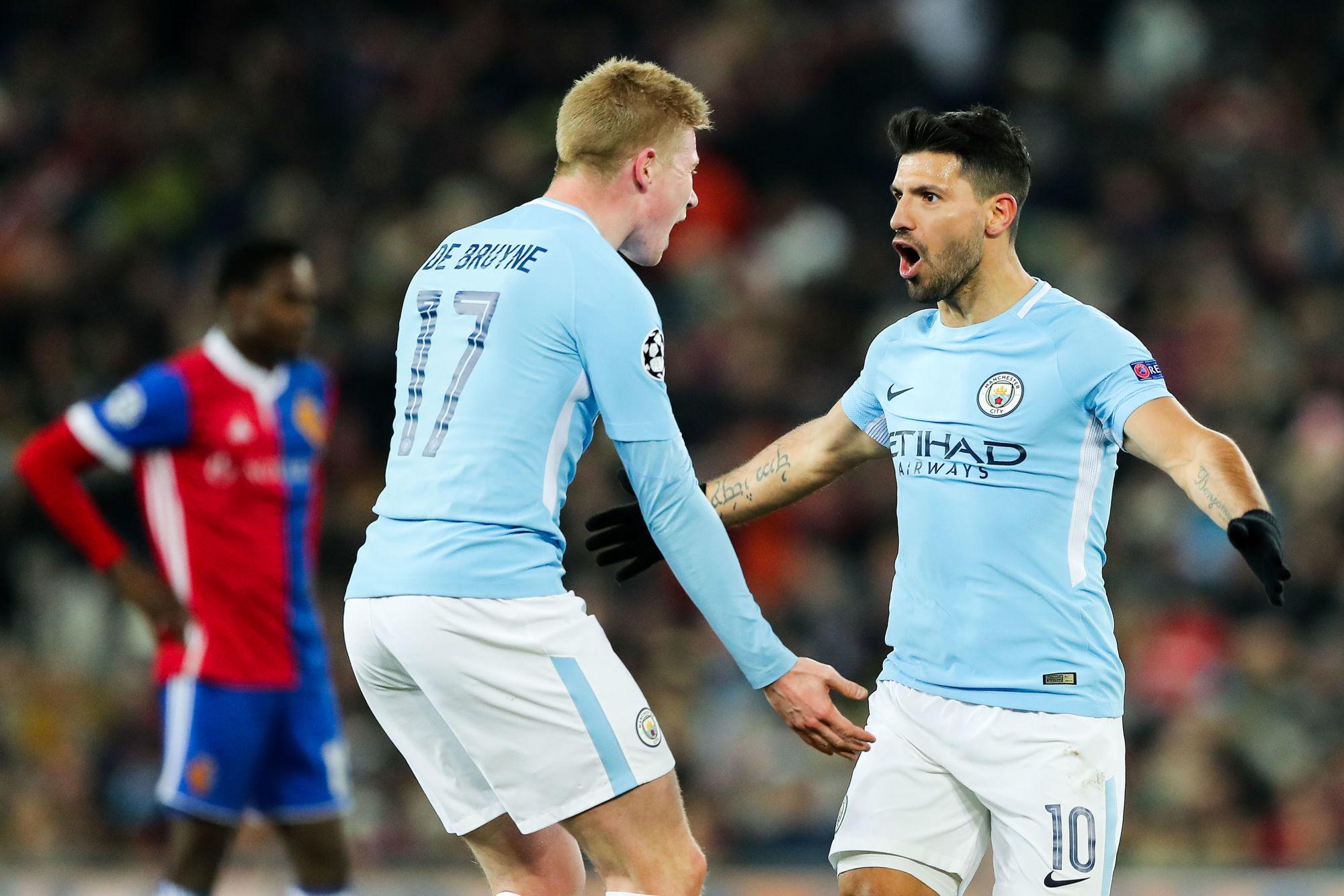 Sự trở lại của De Bruyne và Aguero sẽ giúp Guardiola có thêm nhiều lựa chọn nhân sự - chiến thuật khi đấu Tottenham ở Wembley. Ảnh: AFP