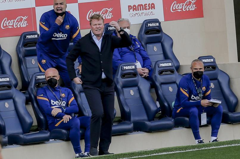 Koeman sempat khawatir di menit-menit akhir pertandingan, saat Villarreal menekan kecepatannya menjelang akhir pertandingan.  Foto: AP