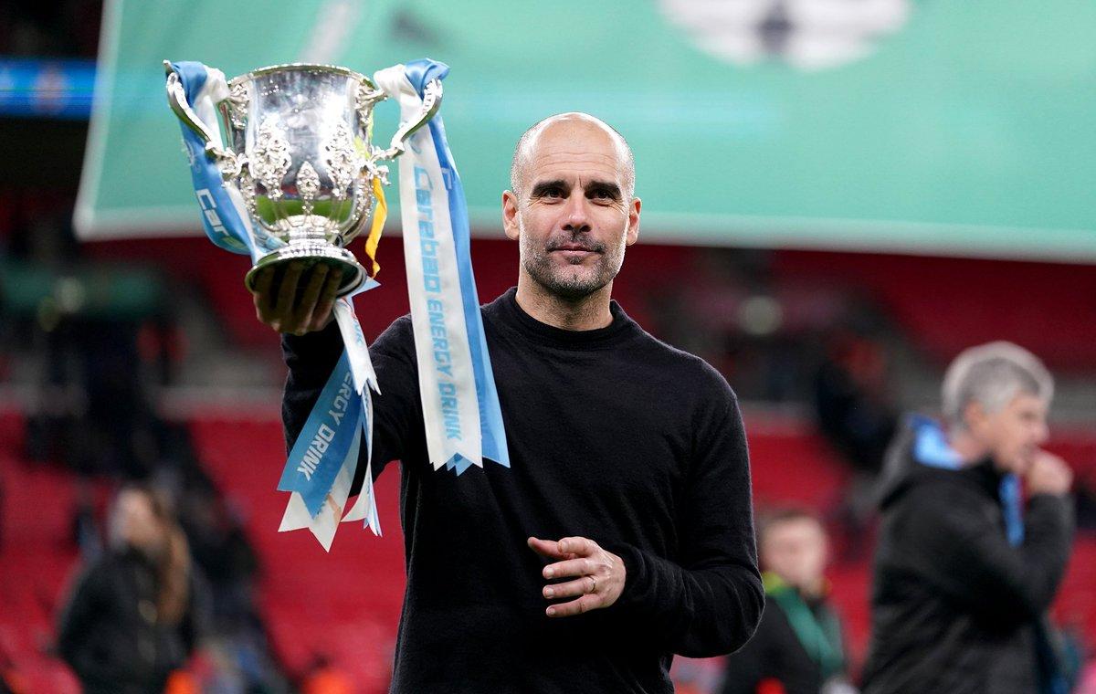 Guardiola còn có thể nâng thêm hai chiếc cúp nữa cùng Man City mùa này, tại Ngoại hạng Anh và Champions League.. Ảnh: Goal.