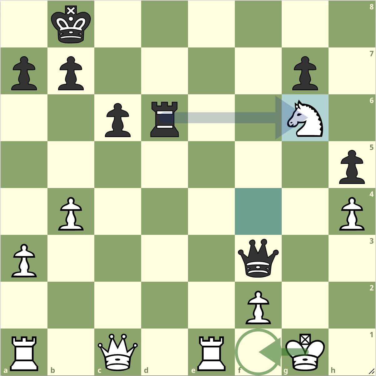 Trong trường hợp Jones tiếp nhận đòn thí, Quang Liêm sẽ dùng xe còn lại bắt mã chiếu, khiến vua trắng phải chạy vào f1. Từ đó, hậu đen sẽ lần lượt chiếu khiến Trắng chỉ có một nước bắt buộc để đi. Đầu tiên, hậu chiếu ở d3, khiến Trắng phải đưa xe lên e2 đỡ. Sau đó, hậu đen chuyển sang h3 chiếu.