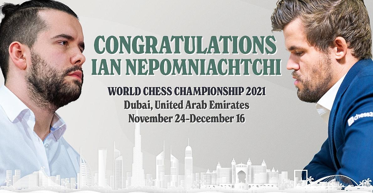 Nepomniachtchi (trái) sẽ thách đấu Vua cờ Carlsen vào tháng 11 và 12 năm 2021. Ảnh: Chess24