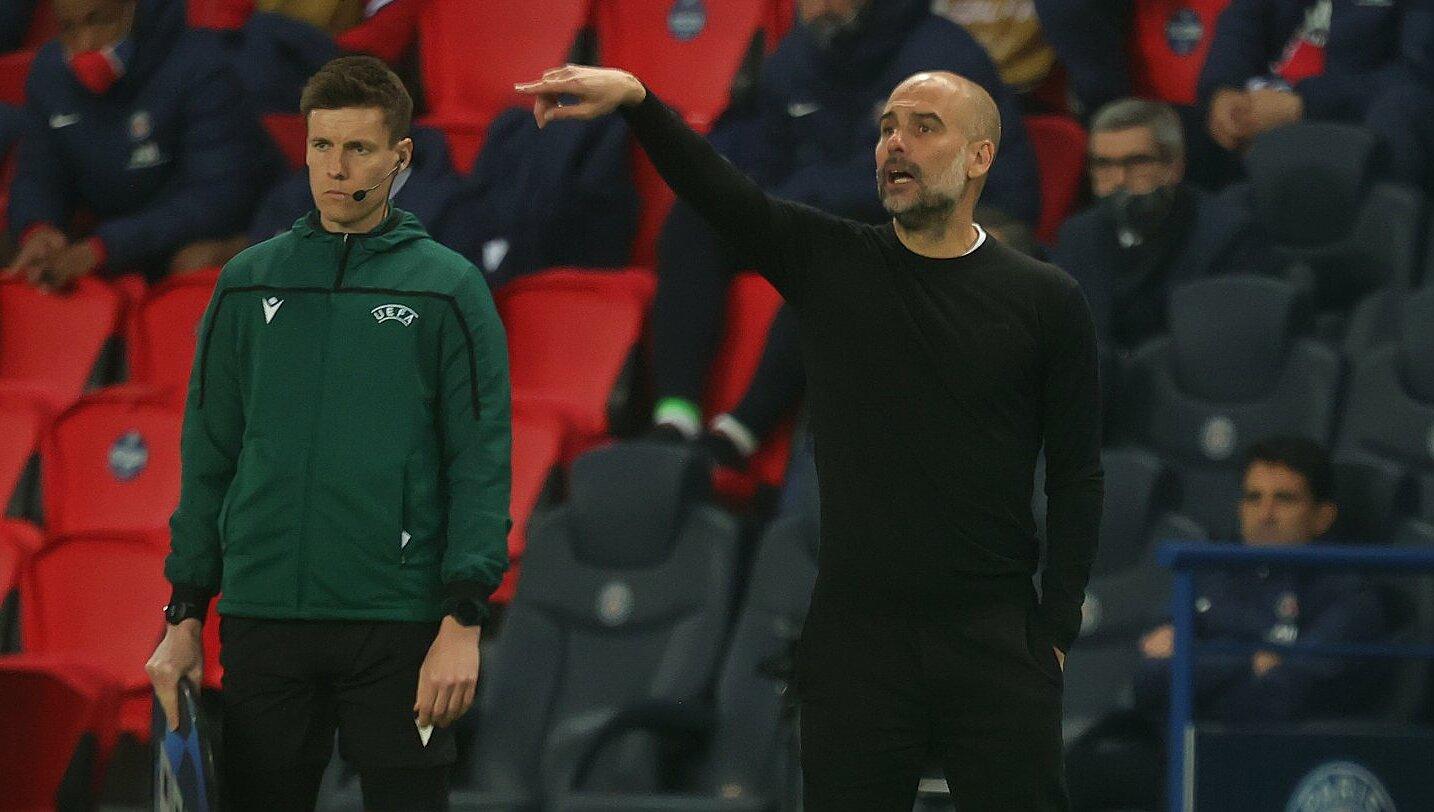 Guardiola lần đầu tiên cùng Man City vào tới bán kết Champions League. Ảnh: Twitter / Man City