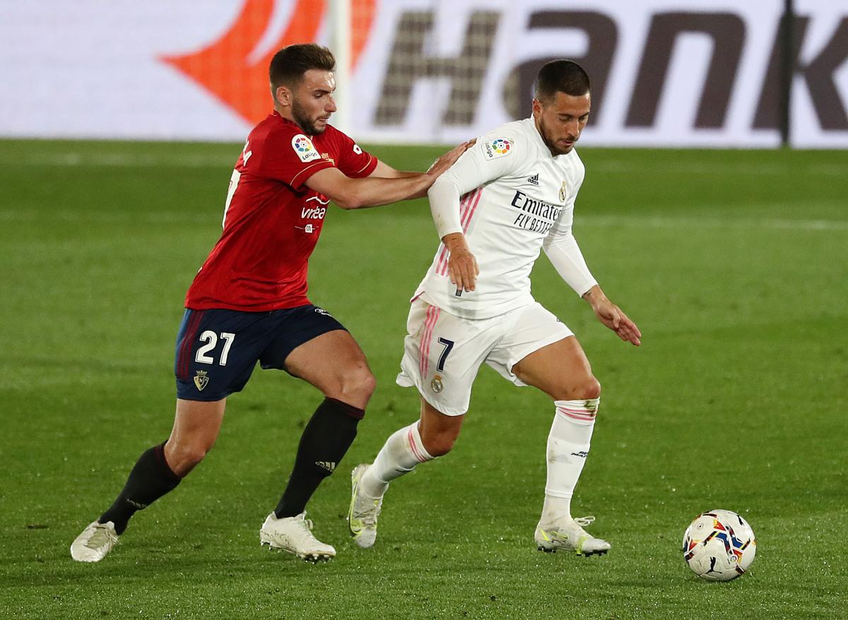 Hazard belum menunjukkan sinyal apa pun tentang kemampuannya untuk menemukan dirinya lagi di Real.  Foto: Reuters.