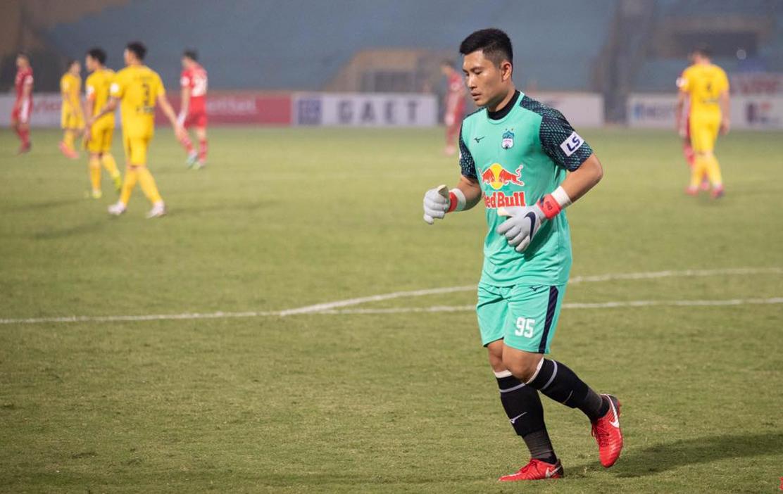 Tuấn Linh thi đấu ấn tượng, giúp HAGL là đội thủng lưới ít nhất V-League 2021 với chín bàn thua sau 12 trận. Ảnh: HAGL