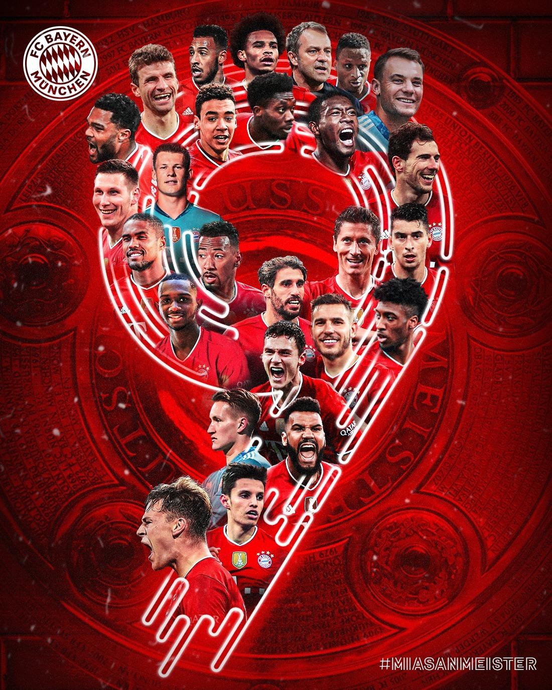 Bayern đăng tải ảnh mừng vô địch Bundesliga mùa này lên fanpage.