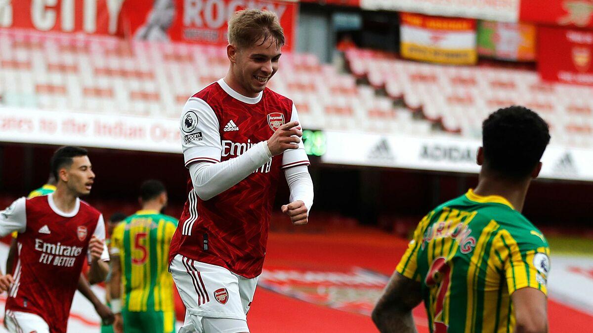 Smith Rowe merayakan gol pembuka untuk Arsenal.  Foto: Reuters.