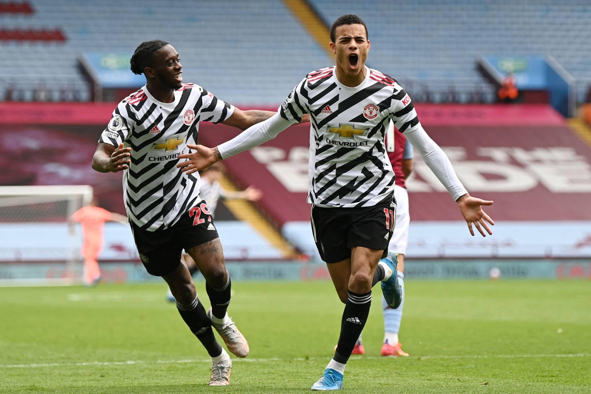 Greenwood mừng bàn nâng tỷ số lên 2-1 trong trận Man Utd thắng ngược Aston Villa 3-1 hôm 9/5. Ảnh: AFP
