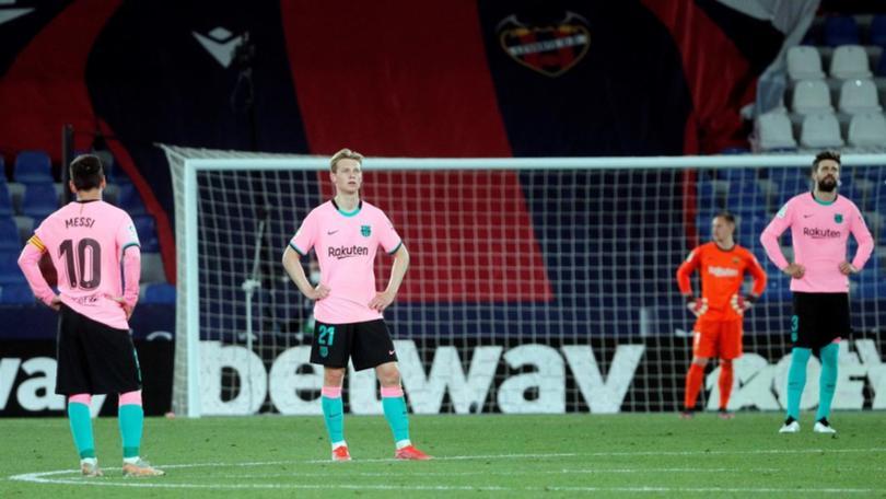 Barca chỉ thắng một trong bốn trận gần nhất tại La Liga. Ảnh: Goal.