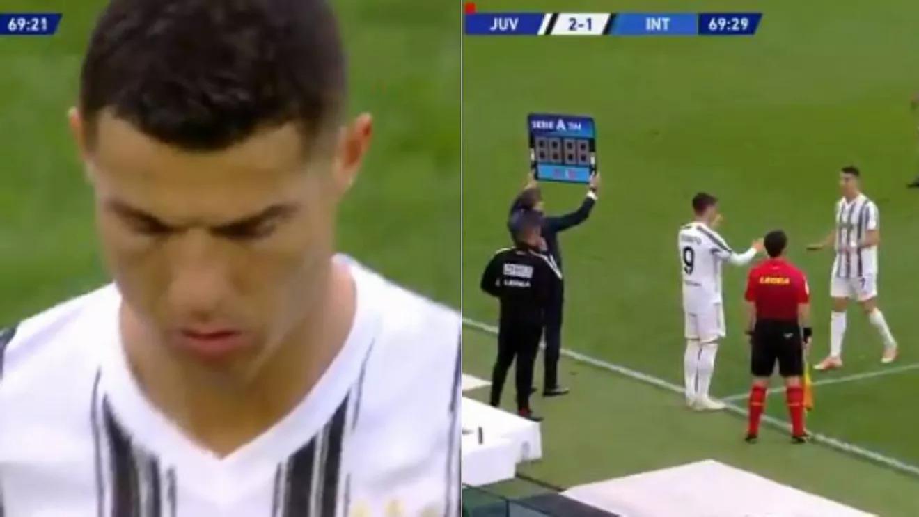 Vẻ mặt không hài lòng của Ronaldo khi rời sân. Ảnh chụp màn hình.