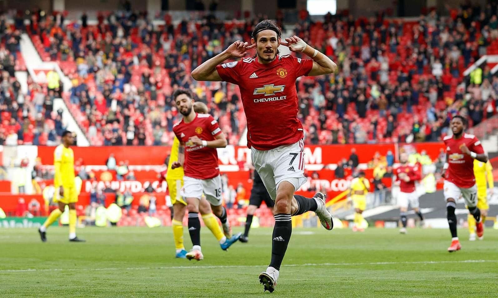 Cavani mencetak gol ke-10 di Liga Inggris musim ini, meski baru memulai 13 pertandingan.  Foto: AFP