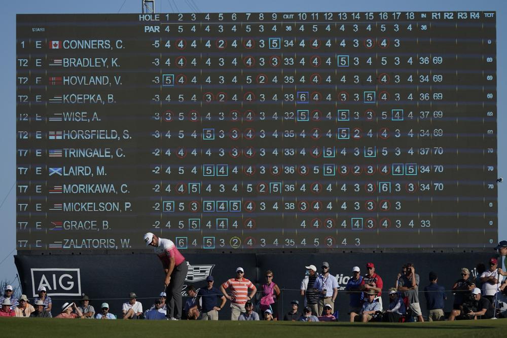 Conners menempatkan bola di lubang ke-18 pada putaran pertama Kejuaraan PGA di Ocean Stadium pada 20 Mei.  Foto: AP