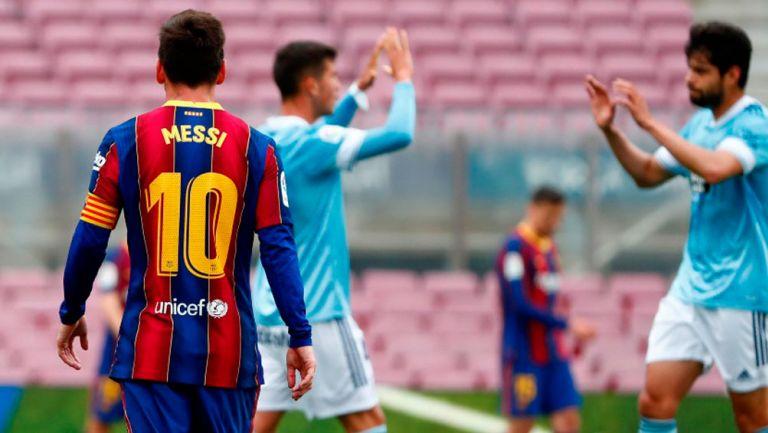 Messi dan Barca kalah dari Celta Vigo pada laga terakhir di La Liga.  Foto: AP.