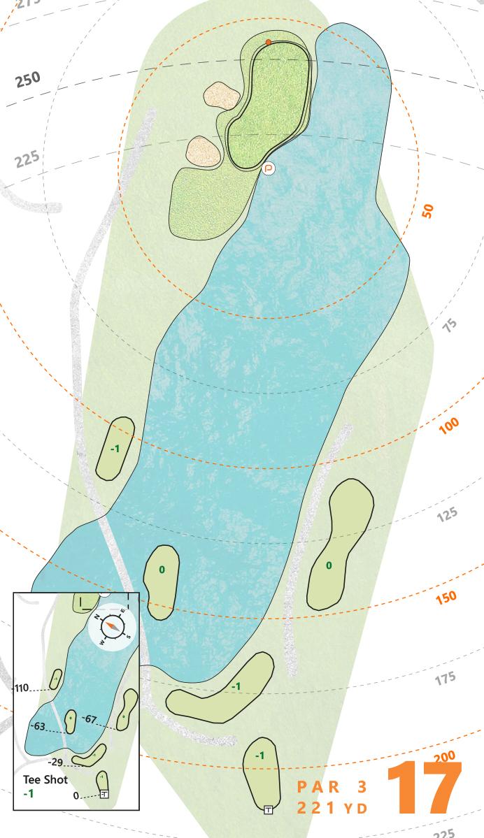Thông số kỹ thuật của hố 17 par3 trong sổ tay về sân Ocean. Đồ hoạ: Puttview