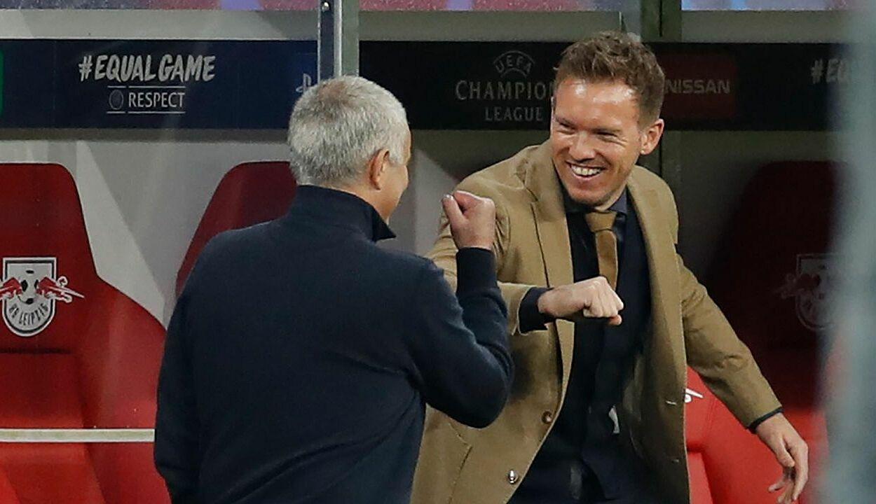 Nagelsmann thắng Mourinho trong cả hai lần đấu trí mùa trước, 1-0 trên sân Tottenham và 3-0 trên sân RB Leipzig. Ảnh: Reutes