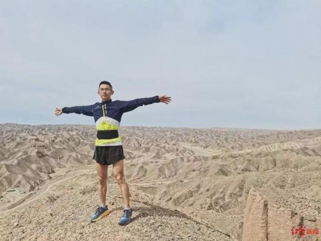 Huang Guanjun shared a moment on the track in Gansu in the last photo posted on social media before his death.  Photo: 163