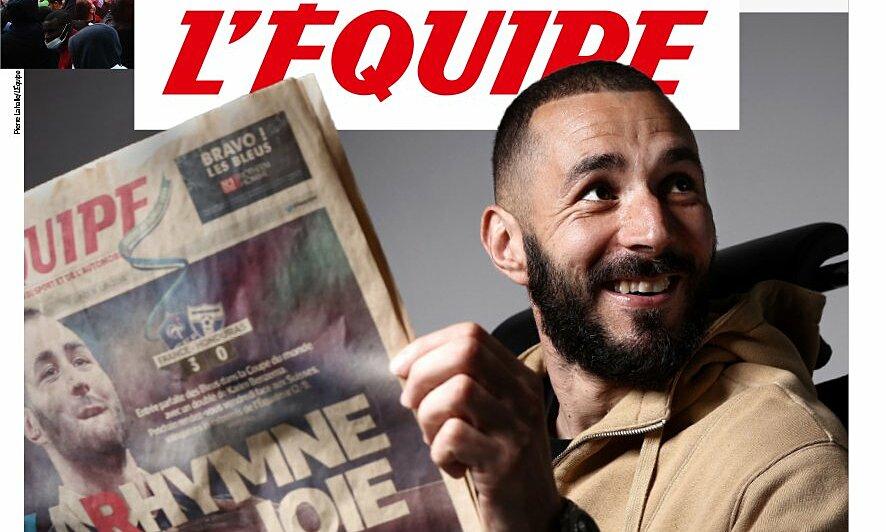 หน้าแรกของLÉquipeเมื่อวันที่ 25 พฤษภาคมโพสต์ภาพของ Karim Benzema - ผู้เล่นที่กลับไปฝรั่งเศสเป็นครั้งแรกนับตั้งแต่เดือนตุลาคม 2015  ภาพ: LÉquipe