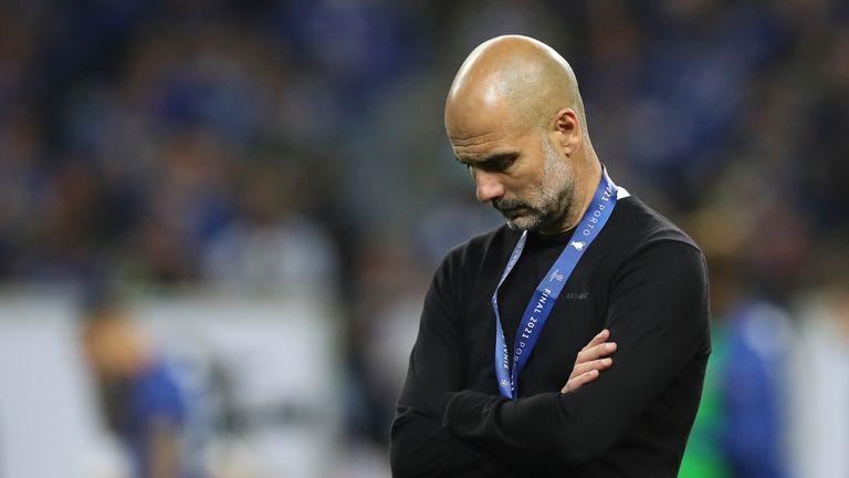 Guardiola chưa thể vô địch Champions League từ ngày rời Barca. Ảnh: BT Sport