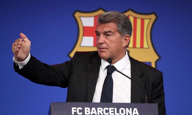 Presiden Barca Laporta menegaskan bahwa Barca tidak melakukan kesalahan dalam pembentukan Liga Super.  Foto: EF.