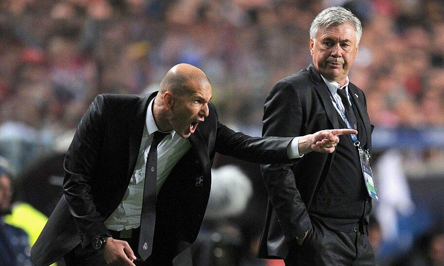 Zidane và các đời HLV xen giữa hai nhiệm kỳ của Ancelotti ở Real đều là những người quen thuộc, từng làm cầu thủ hoặc HLV đội trẻ của CLB. Ảnh: Twitter / UEFA