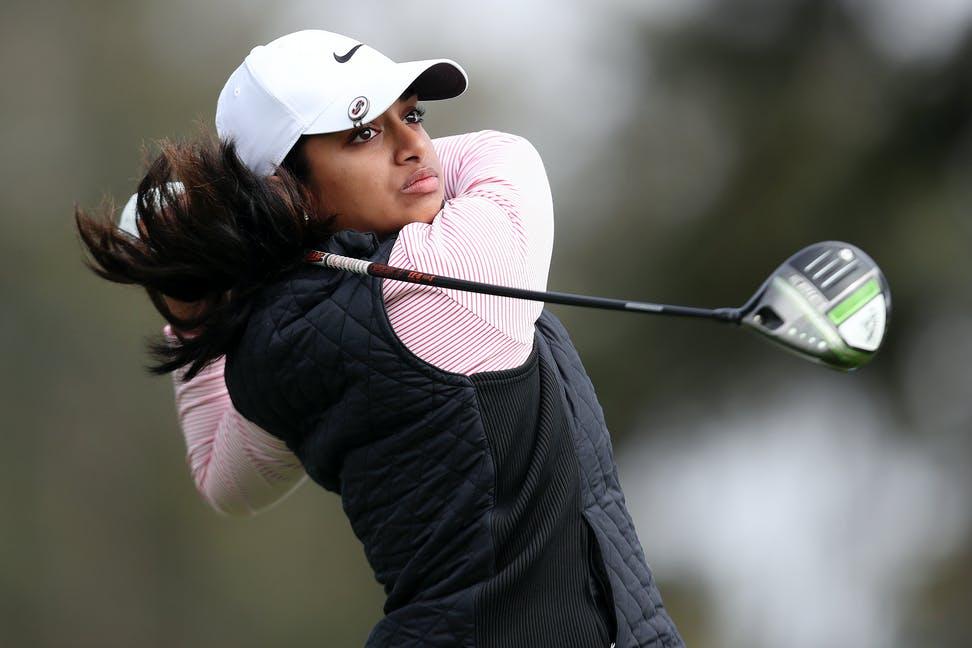Ganne, dengan posisi T1, memberikan kejutan menyenangkan di hari pertama US Womens Open.  Foto: AP