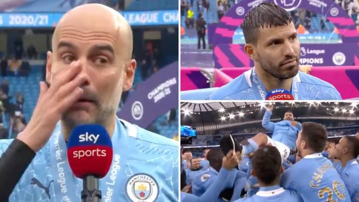 Guardiola (ซ้าย) ร้องไห้ในขณะที่เขาจ่ายส่วย Aguero หลังจากเกมสุดท้ายของพรีเมียร์ลีก  ภาพ: สกายสปอร์ต
