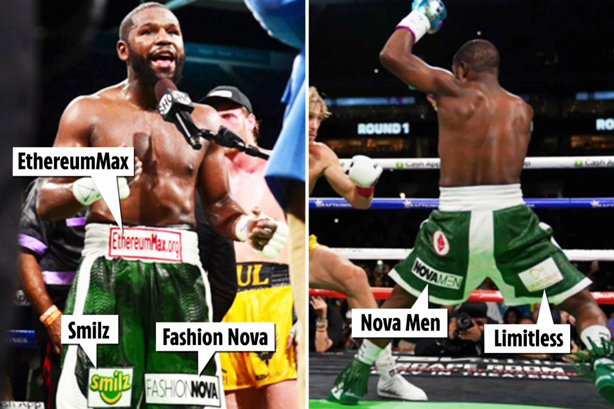 The series of brands on the shorts brought Mayweather $30 million.  Photo: The Sun