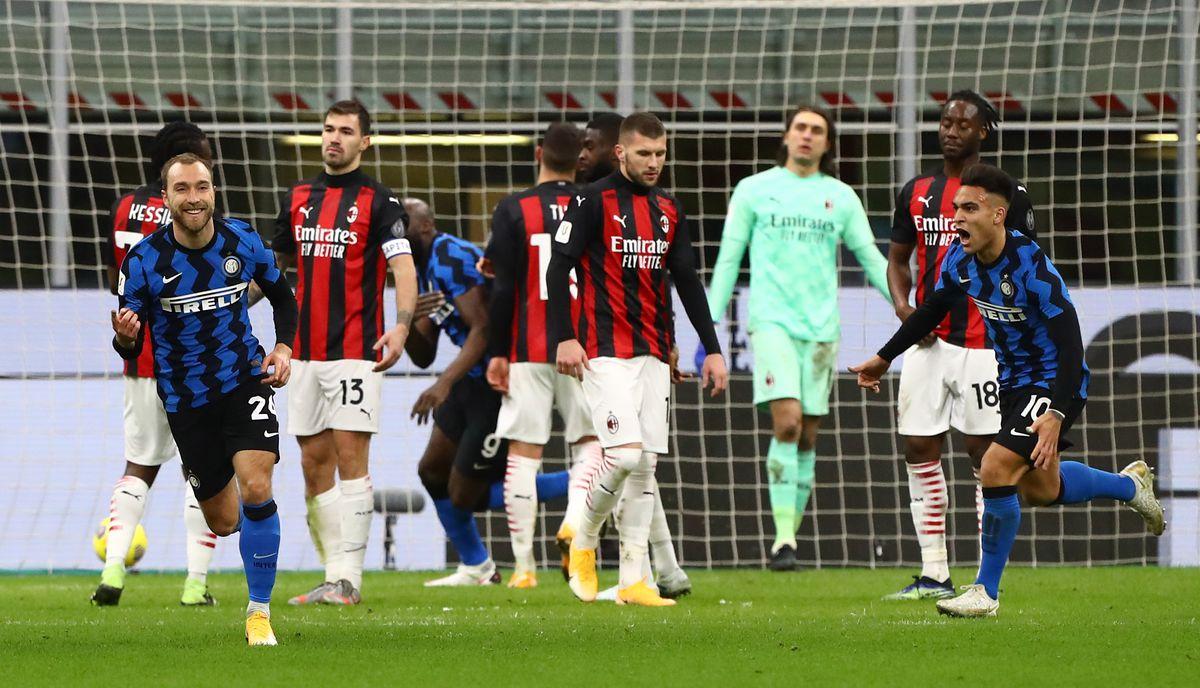 Tendangan bebas langsung ke gawang Milan adalah momen yang menandai Eriksen menjadi andalan Inter setelah setahun berjuang keras, mendapatkan kepercayaan dari pelatih Conte.  Foto: ANSA
