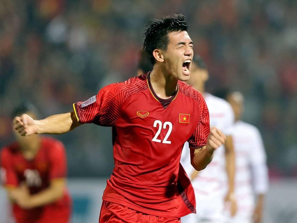 Tien Linh ฉลองหลังจากทำคะแนนให้กับ UAE