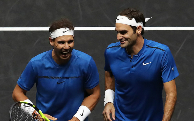 Nadal đánh cặp với Federer trong màu áo tuyển châu Âu tại Laver Cup 2019. Ảnh: Laver Cup