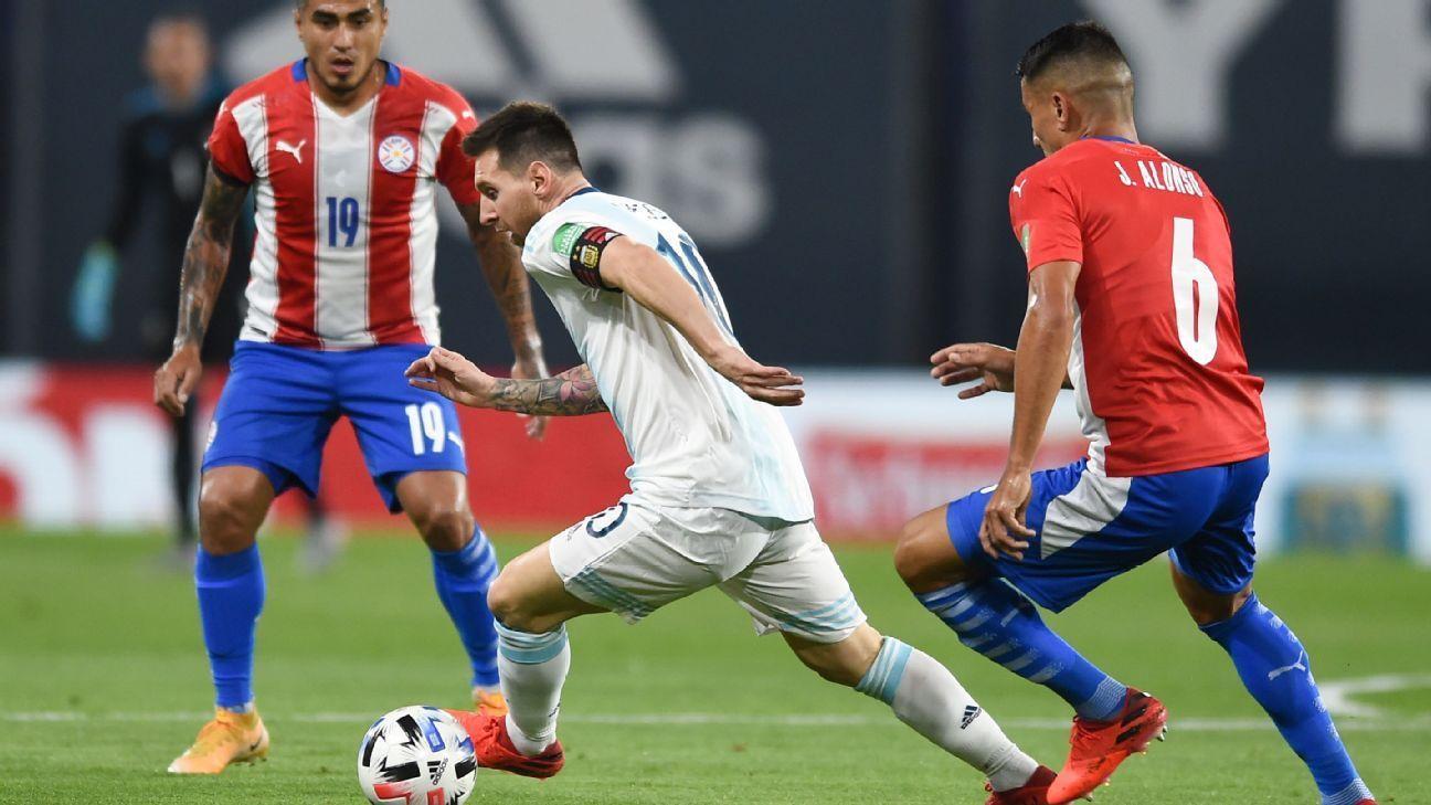 Messi và Argentina từng bị Paraguay cầm hoà 1-1 trên sân nhà Bombonera ở vòng loại World Cup 2022 cách đây bảy tháng. Ảnh: EFE