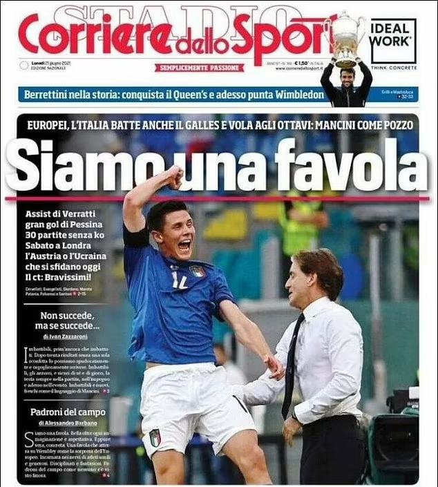 Halaman depan Corriere setelah menang atas Wales.