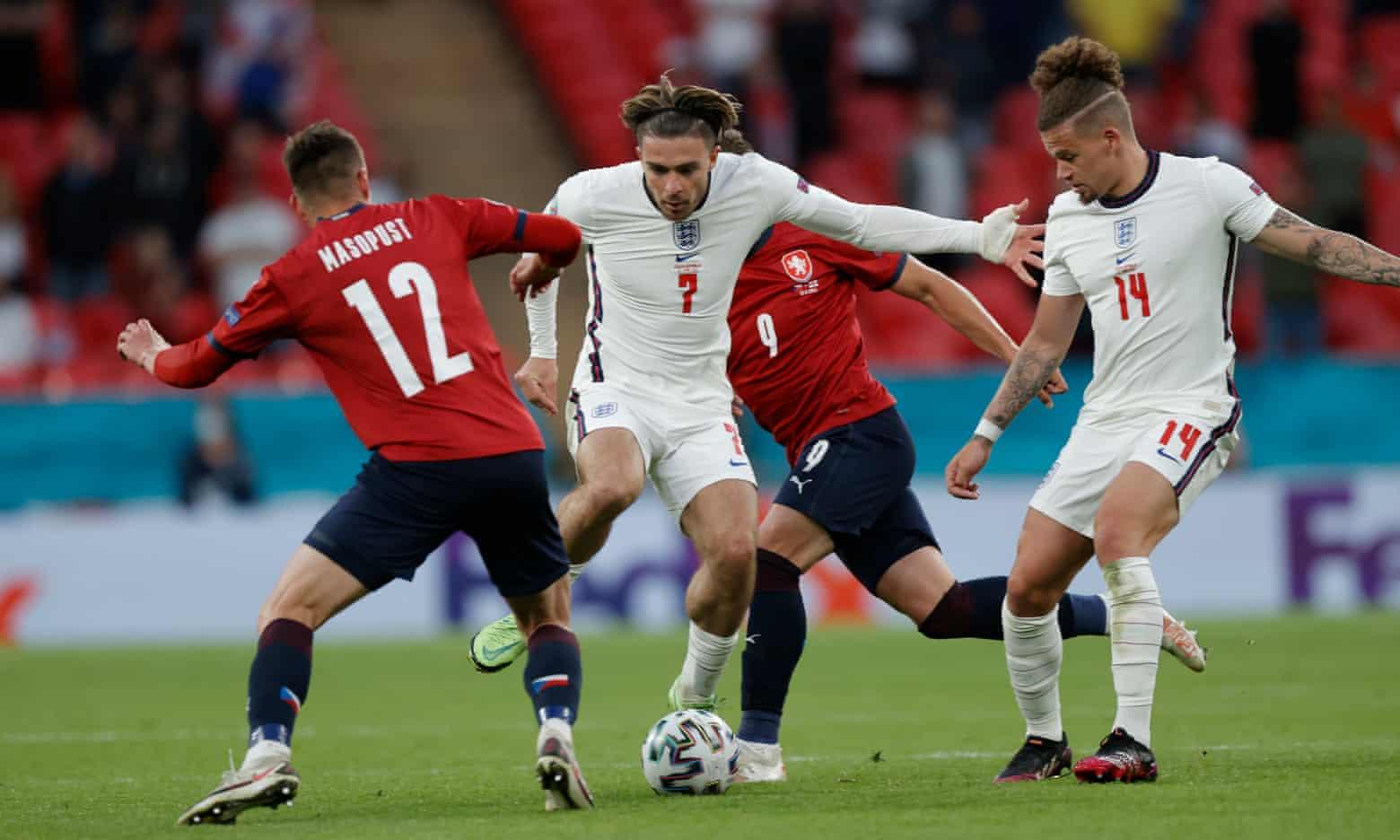 Grealish đá chính, mang lại xung lượng mới cho mặt trận tấn công của tuyển Anh. Ảnh: Guardian