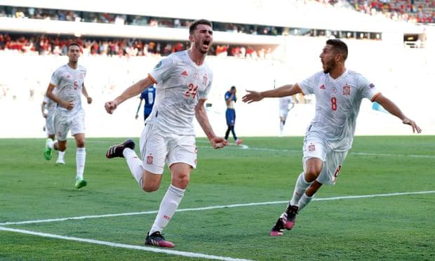 Laporte mencetak gol pertamanya untuk Spanyol.  Foto: Reuters