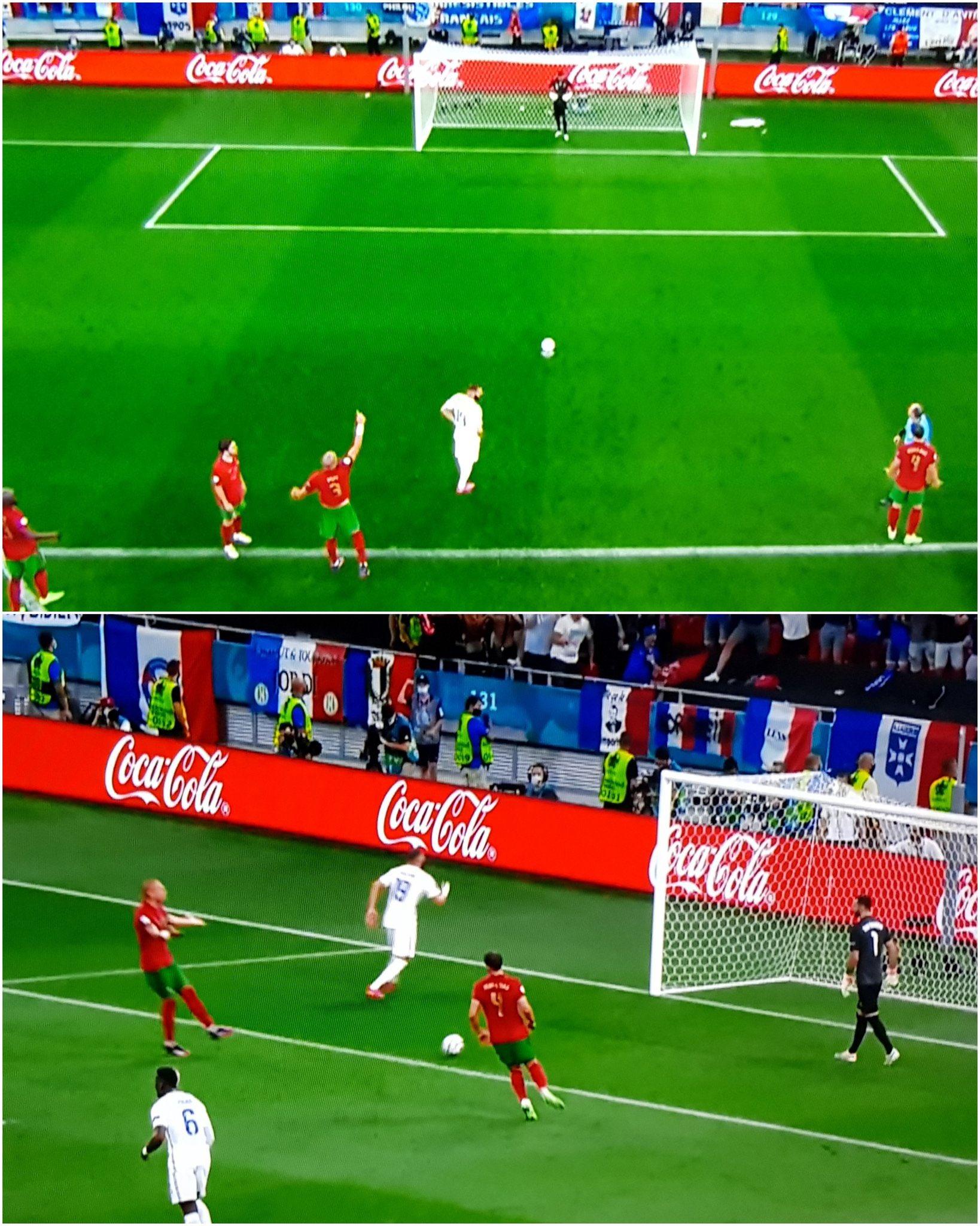 Pepe chỉ hướng sút của Benzema (ảnh trên) và nổi cáu với Patricio (ảnh dưới) khi thủ môn đồng đội không nghe tư vấn của anh.