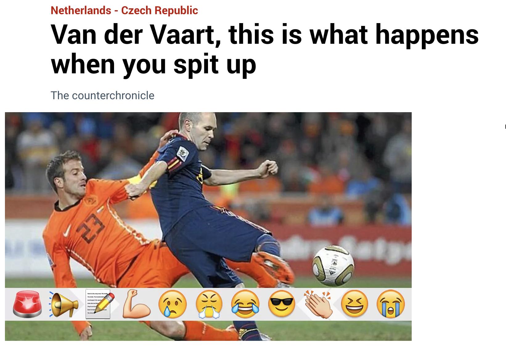 Van der Vaart, inilah yang terjadi ketika Anda berbicara tanpa berpikir, Marca menjadi berita utama setelah kekalahan 0-2 Belanda dari Republik Ceko.  Tangkapan layar