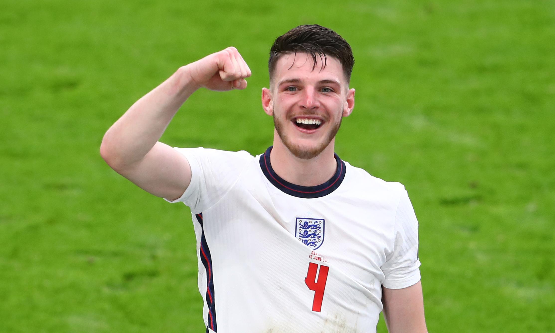 Rice bersemangat setelah bergabung dengan Inggris di perempat final Euro 2021. Foto: West Ham United