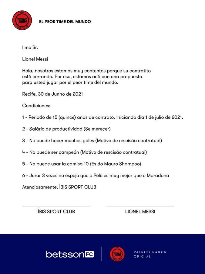 สัญญาปลอมกับเมสซี่ถูกโพสต์บน Twitter โดย Ibis  ภาพถ่าย: Twitter