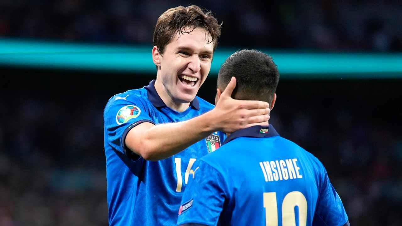 Chiesa và Insigne là hai kỳ vọng trên hàng công Italy, khi trung phong Ciro Immobile và Andrea Belotti chưa đáp ứng kỳ vọng. Ảnh: CalcioToday